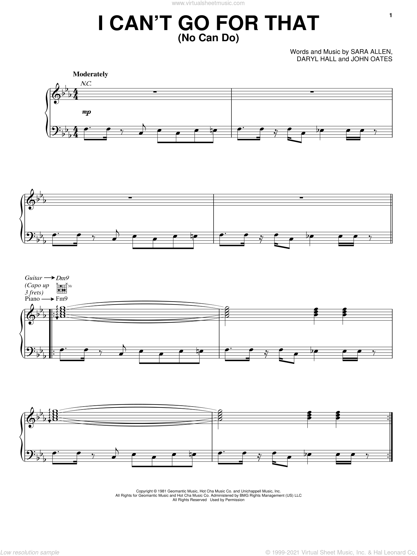 I Can't Go For That sheet music for voice, piano or guitar by Sara Allen, Hall and Oates, Daryl Hall and John Oates. Score Image Preview.