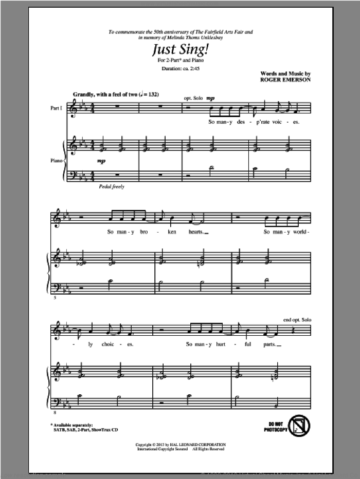 Just Sing sheet music for choir (2-Part) by Roger Emerson, intermediate duet. Score Image Preview.