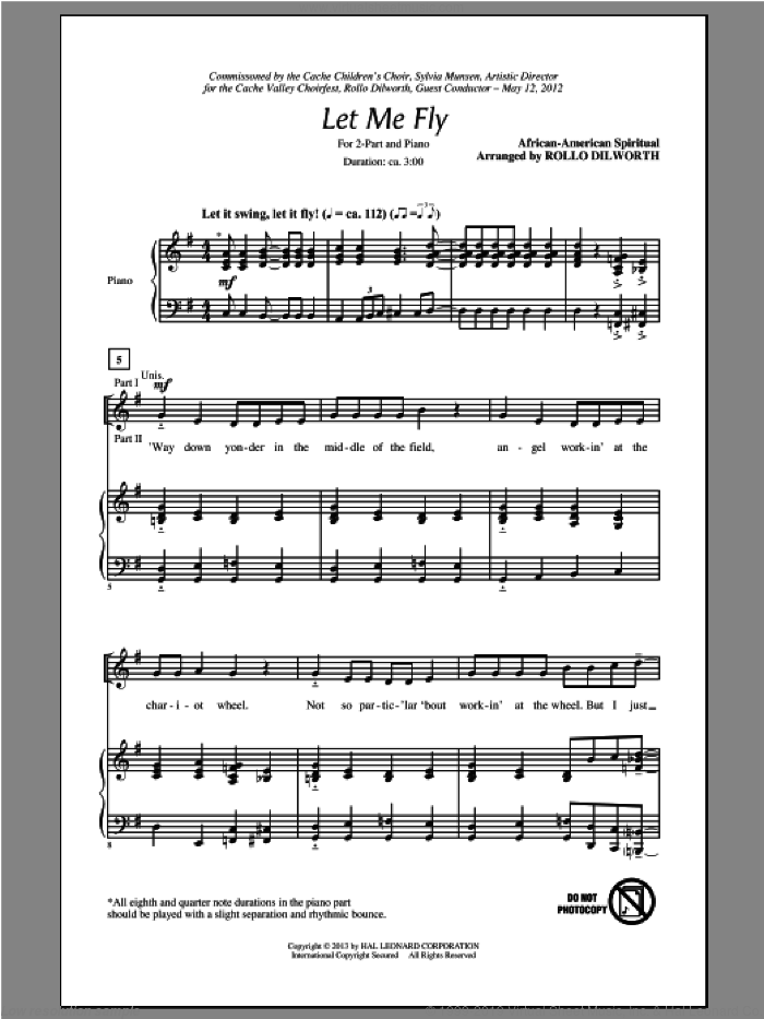 Let Me Fly sheet music for choir and piano (duets) by Rollo Dilworth. Score Image Preview.