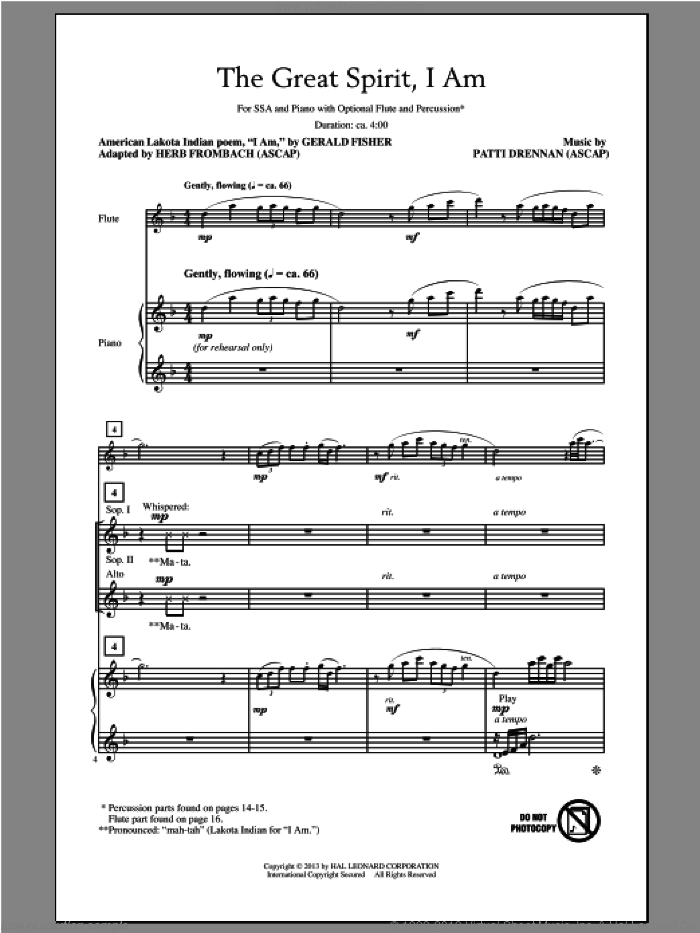 The Great Spirit, I Am sheet music for choir (soprano voice, alto voice, choir) by Herb Frombach and Patti Drennan. Score Image Preview.