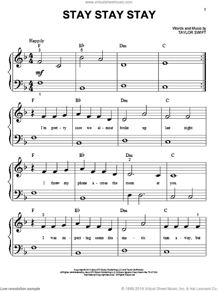 Stay Stay Stay sheet music for piano solo (big note book) by Taylor Swift, easy piano (big note book). Score Image Preview.