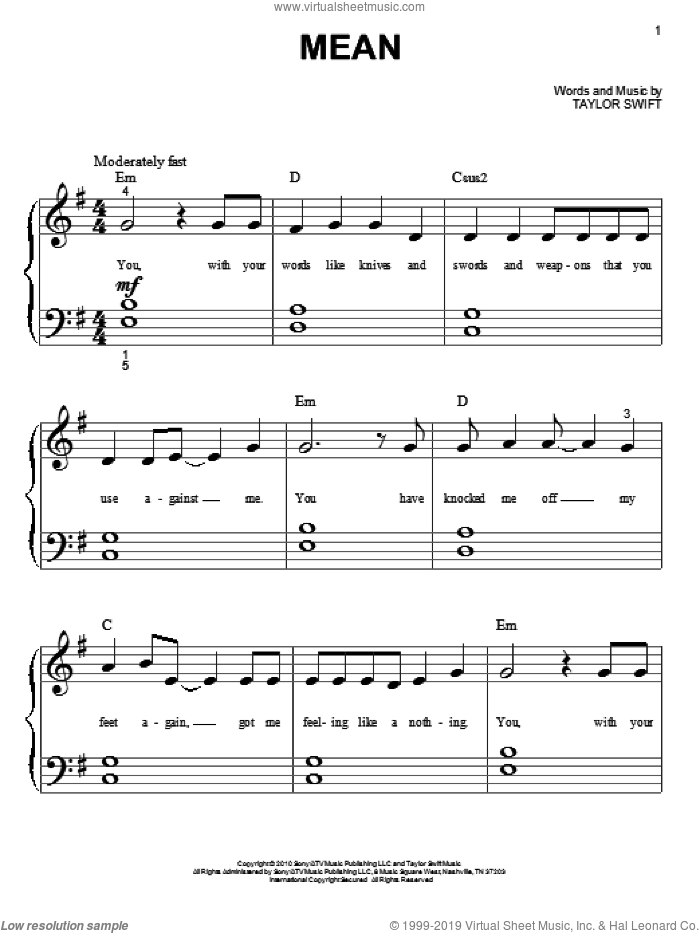 Mean sheet music for piano solo (big note book) by Taylor Swift, easy piano (big note book)