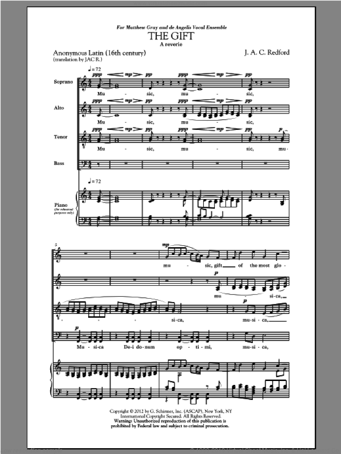 The Gift sheet music for choir (SATB) by Jac Redford, intermediate choir (SATB). Score Image Preview.