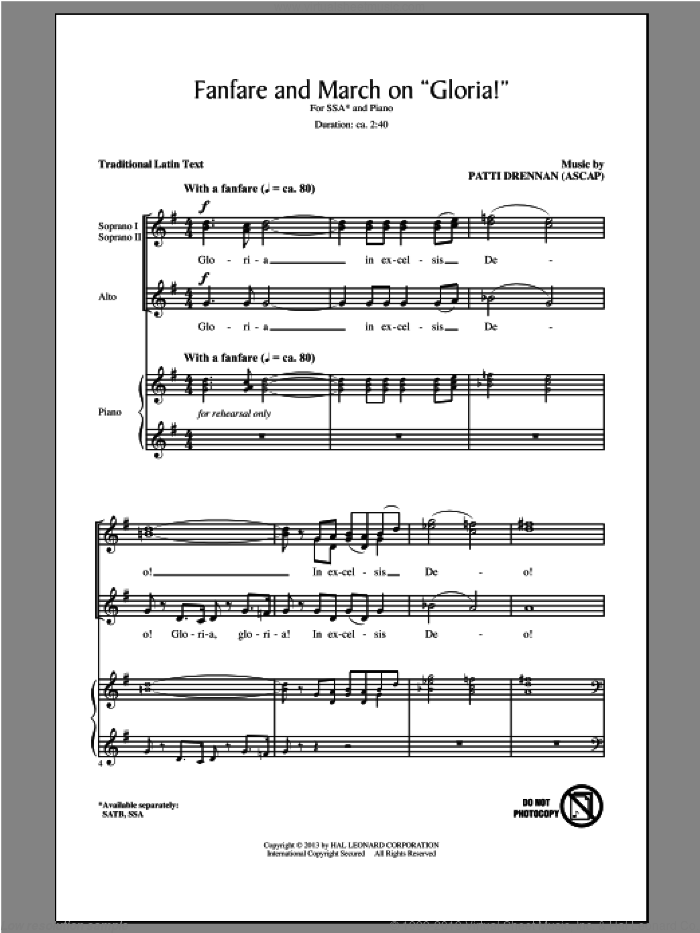 Fanfare And March On 'Gloria' sheet music for choir (SSA: soprano, alto) by Patti Drennan, intermediate skill level