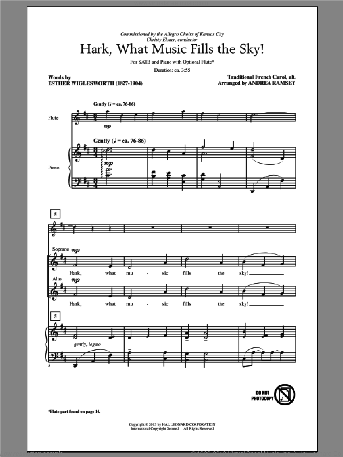 Hark, What Music Fills The Sky sheet music for choir and piano (SATB) by Esther Wiglesworth and Andrea Ramsey. Score Image Preview.