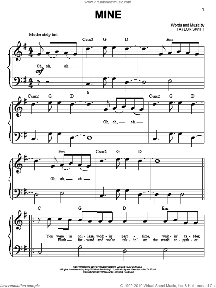 Mine sheet music for piano solo (big note book) by Taylor Swift, easy piano (big note book)