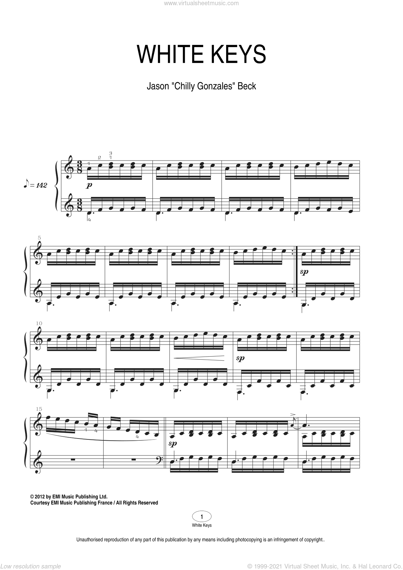 White Keys sheet music for piano solo by Chilly Gonzales, classical score, intermediate