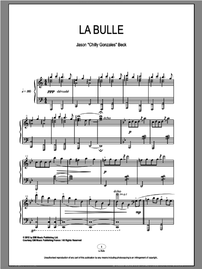 La Bulle sheet music for piano solo by Chilly Gonzales and Jason Beck, classical score, intermediate skill level