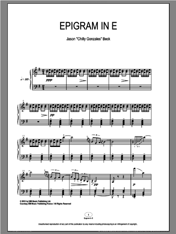 Epigram In E sheet music for piano solo by Chilly Gonzales and Jason Beck. Score Image Preview.