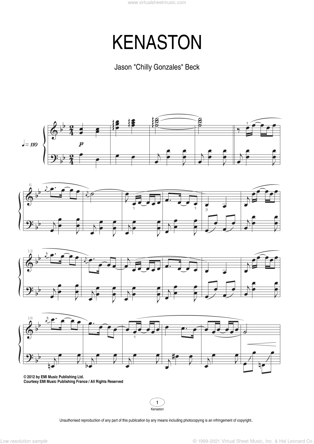 Kenaston sheet music for piano solo by Chilly Gonzales and Jason Beck, classical score, intermediate skill level