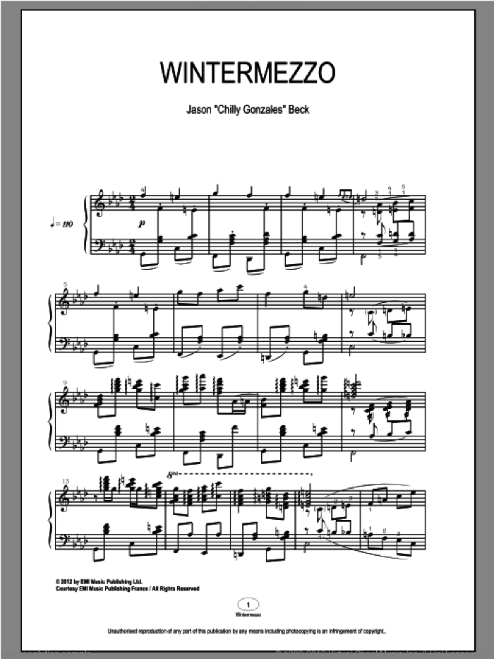 Wintermezzo sheet music for piano solo by Chilly Gonzales and Jason Beck. Score Image Preview.