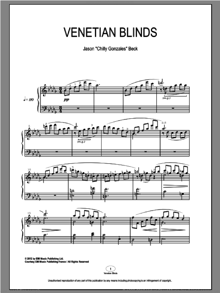 Venetian Blinds sheet music for piano solo by Chilly Gonzales, classical score, intermediate. Score Image Preview.