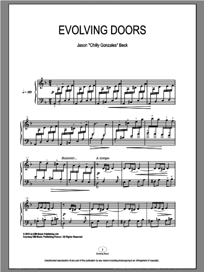 Evolving Doors sheet music for piano solo by Chilly Gonzales and Jason Beck, classical score, intermediate skill level