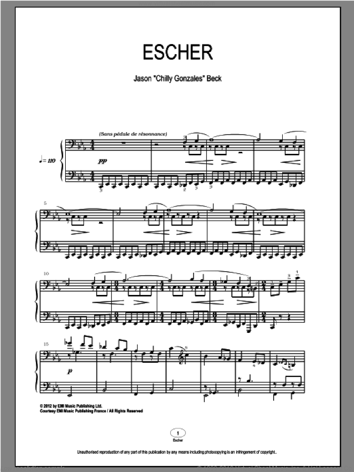 Escher sheet music for piano solo by Chilly Gonzales and Jason Beck. Score Image Preview.