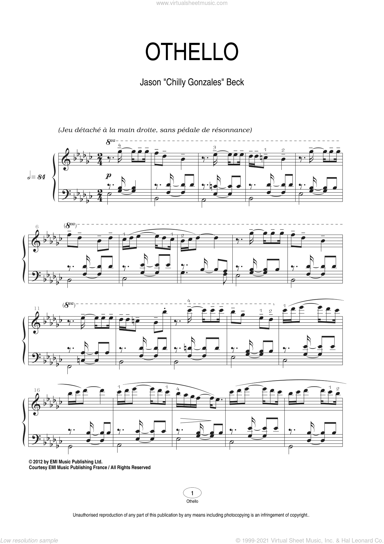 Othello sheet music for piano solo by Chilly Gonzales and Jason Beck. Score Image Preview.