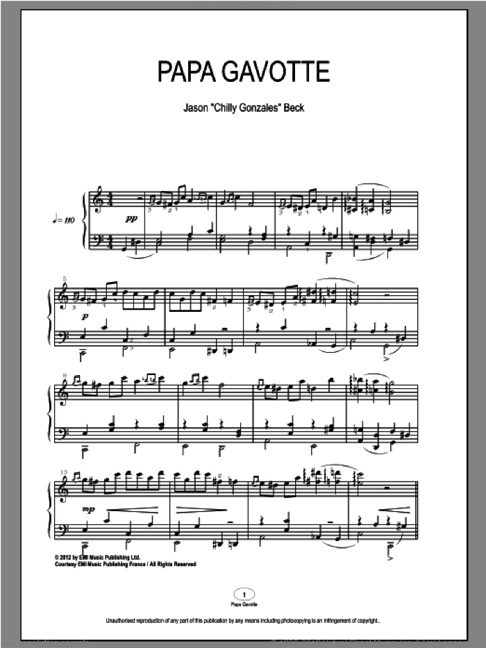 Papa Gavotte sheet music for piano solo by Chilly Gonzales and Jason Beck. Score Image Preview.