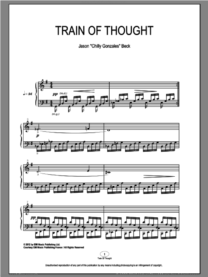 Train Of Thought sheet music for piano solo by Chilly Gonzales and Jason Beck. Score Image Preview.