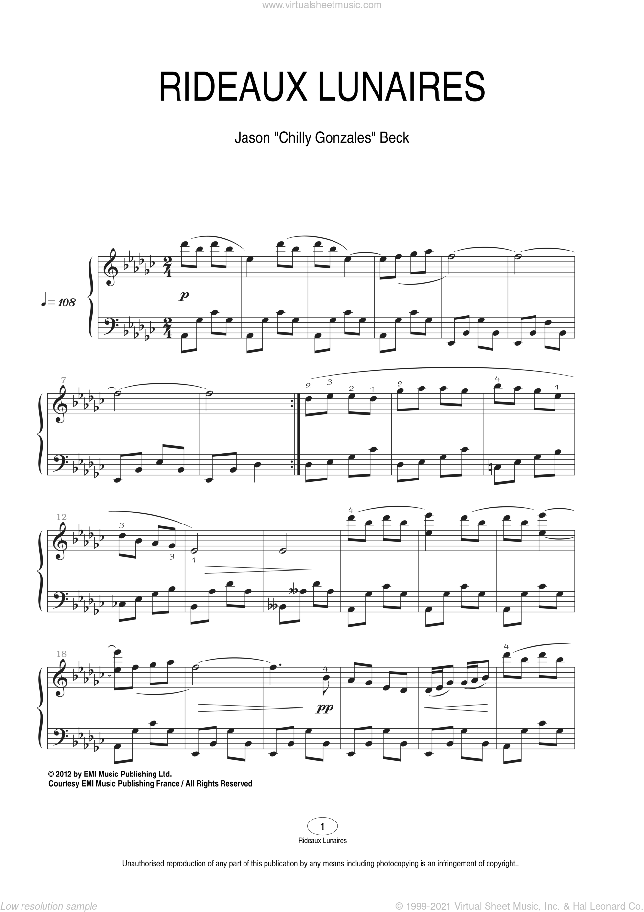 Rideaux Lunaires sheet music for piano solo by Chilly Gonzales and Jason Beck. Score Image Preview.