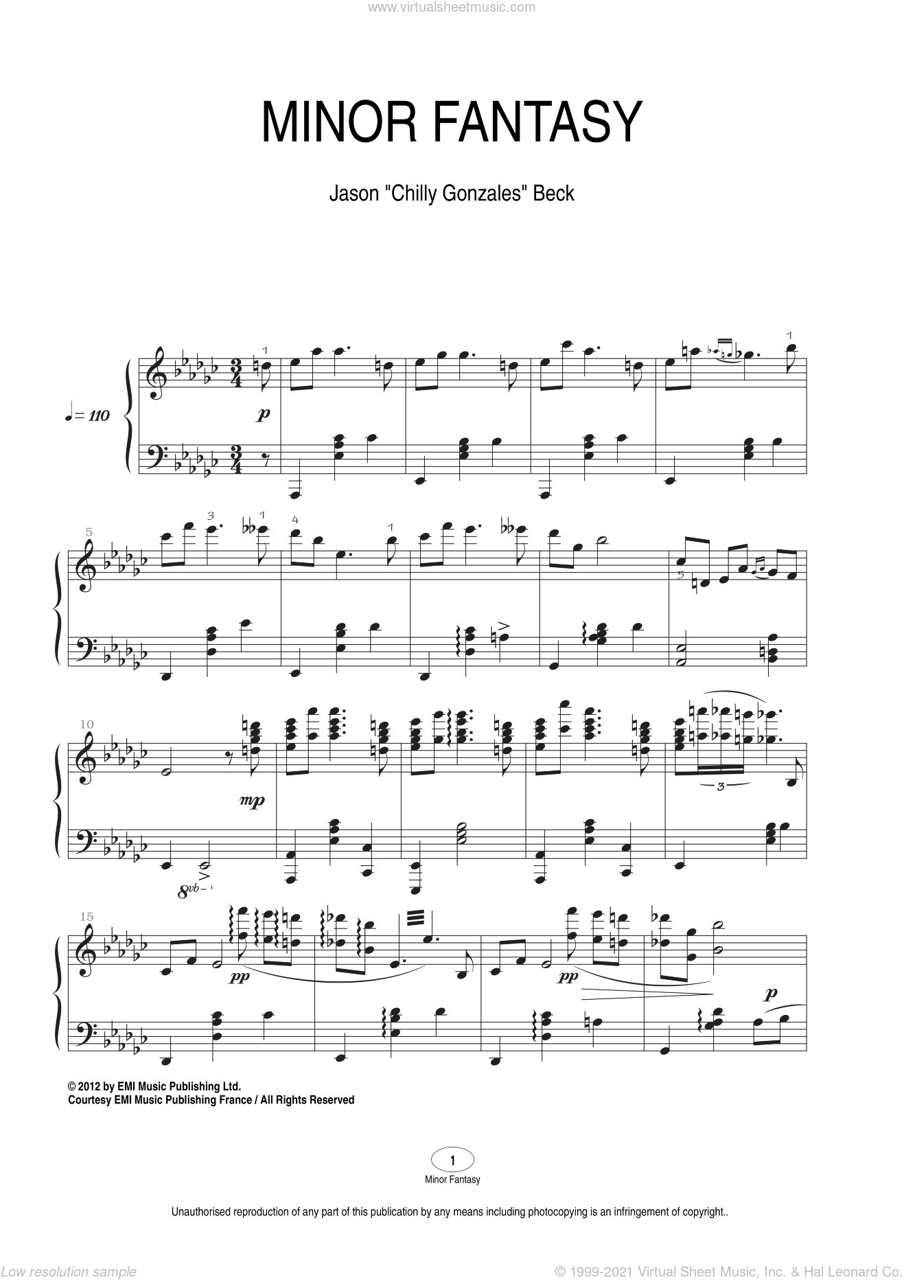 Minor Fantasy sheet music for piano solo by Chilly Gonzales