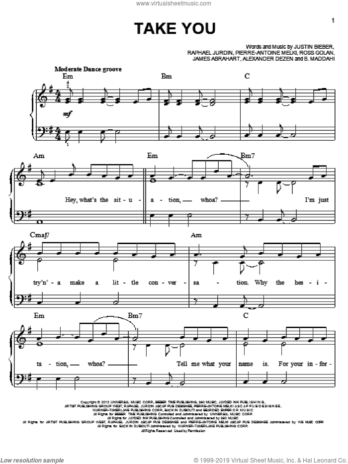 Take You sheet music for piano solo by Justin Bieber, easy skill level