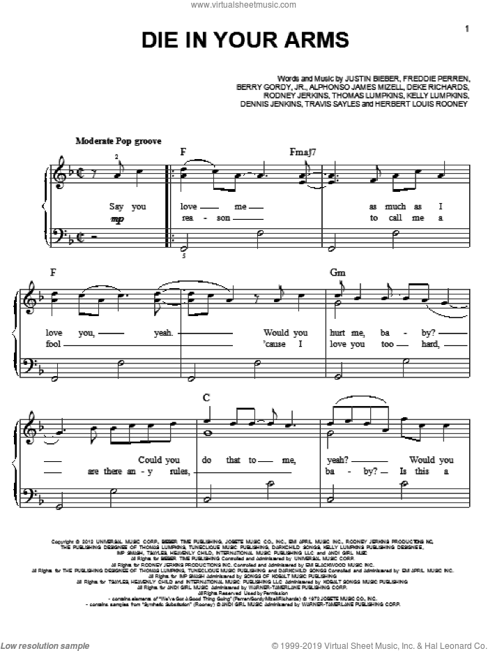 Die In Your Arms sheet music for piano solo by Justin Bieber, easy skill level
