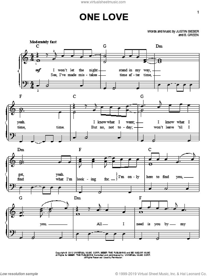 One Love sheet music for piano solo by Justin Bieber, easy skill level