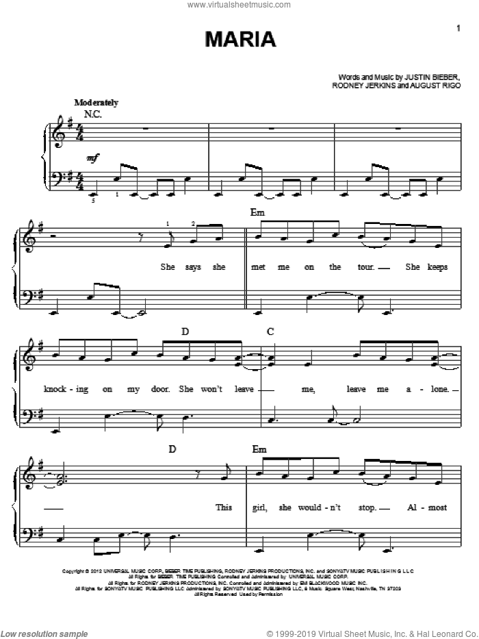 Maria sheet music for piano solo by Justin Bieber, easy skill level