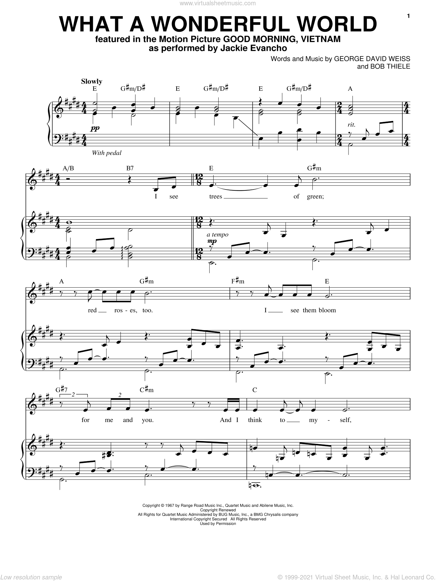 What A Wonderful World sheet music for voice and piano by Jackie Evancho and Louis Armstrong, intermediate