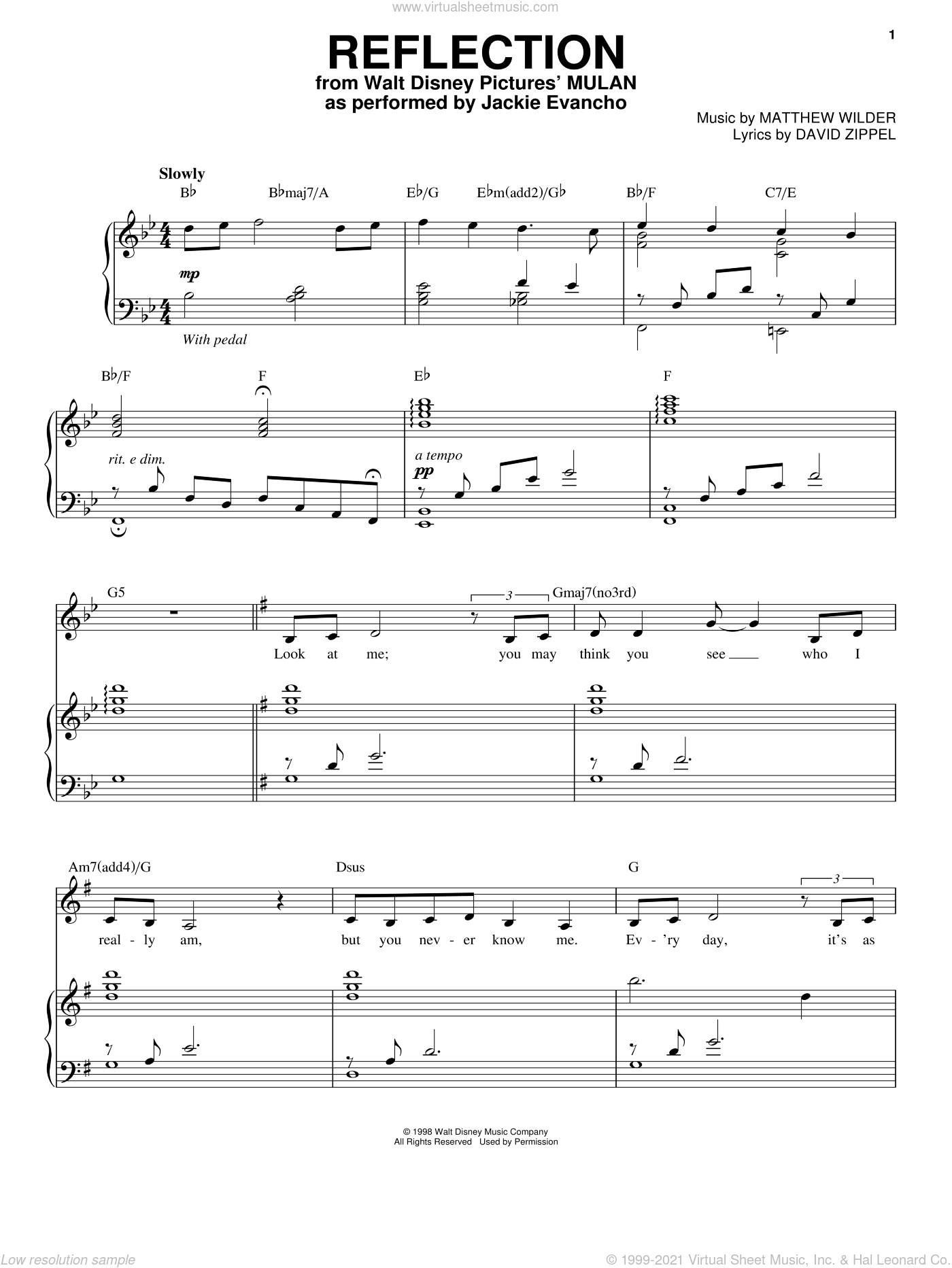 Reflection sheet music for voice and piano by Jackie Evancho, intermediate. Score Image Preview.