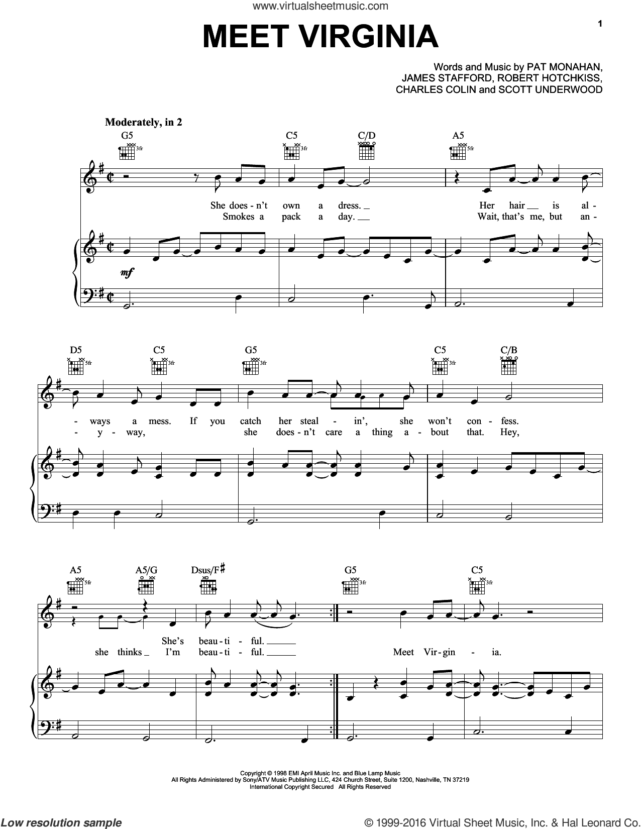 Meet Virginia sheet music for voice, piano or guitar by Train, Jimmy Stafford, Pat Monahan and Rob Hotchkiss, intermediate skill level