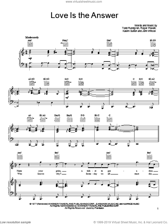 Love Is The Answer sheet music for voice, piano or guitar by Todd Rundgren, John Wilcox, Kasim Sulton and Roger Powell, intermediate skill level