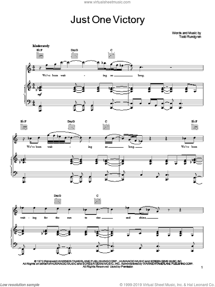 Just One Victory sheet music for voice, piano or guitar by Todd Rundgren, intermediate skill level