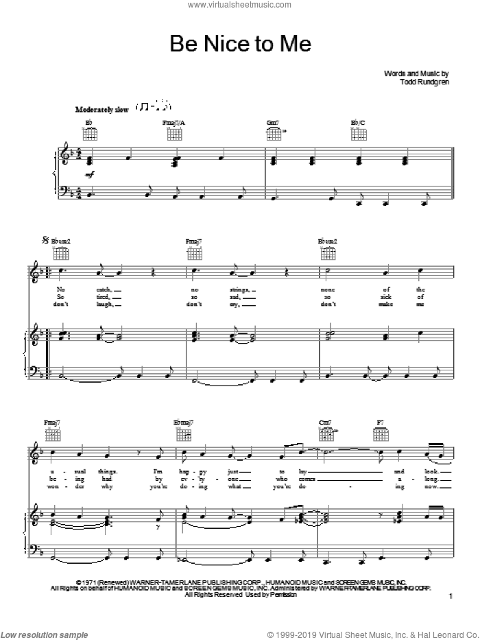 Be Nice To Me sheet music for voice, piano or guitar by Todd Rundgren, intermediate skill level