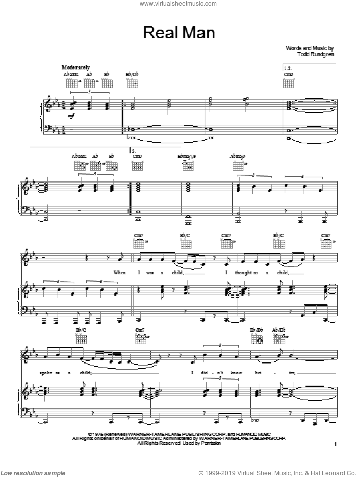 Real Man sheet music for voice, piano or guitar by Todd Rundgren, intermediate skill level