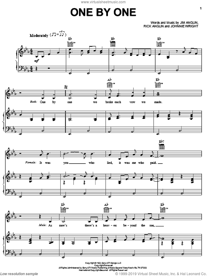 One By One sheet music for voice, piano or guitar by Rick Anglin