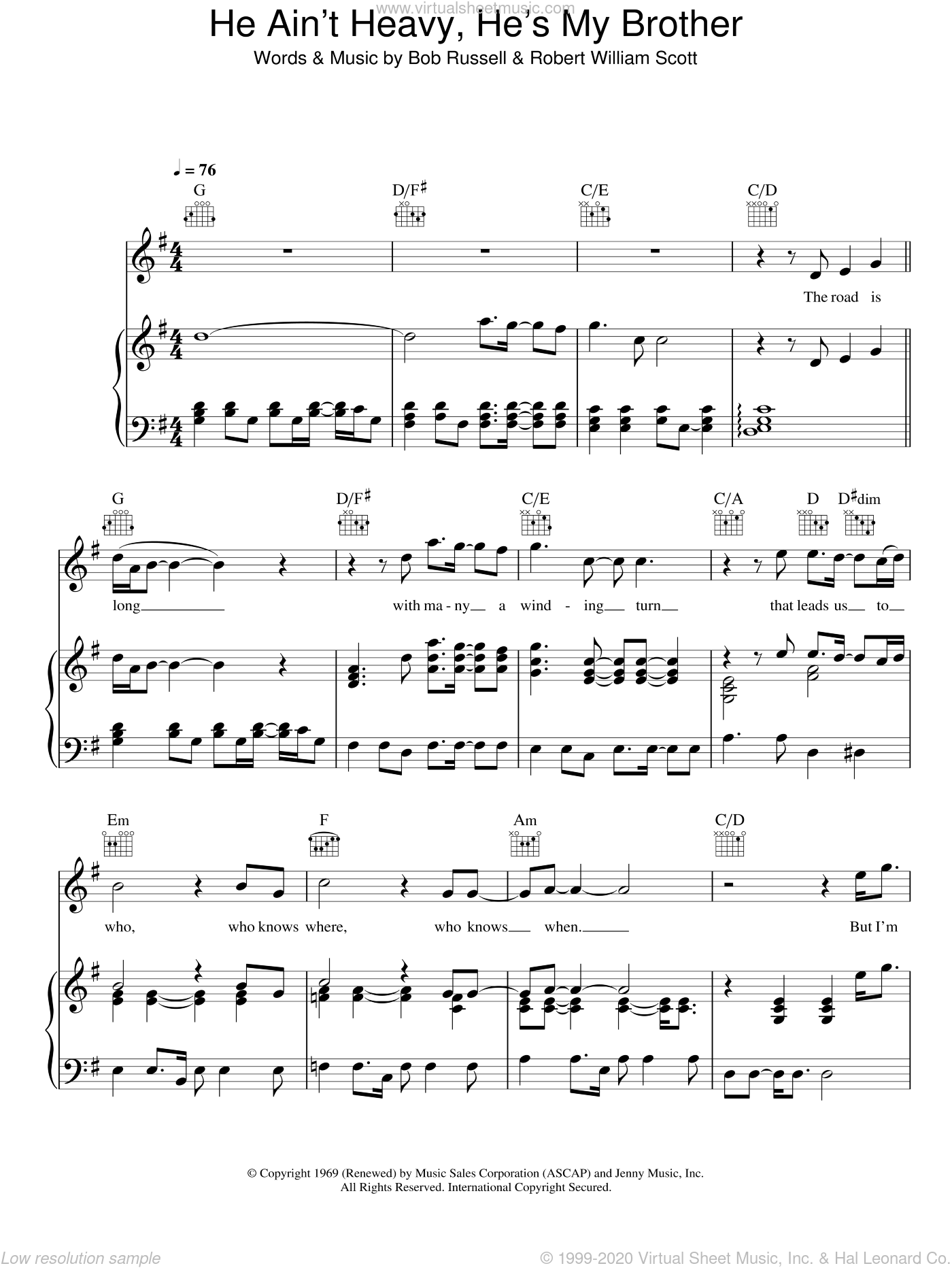 He Ain't Heavy, He's My Brother sheet music for voice, piano or guitar by Robert William Scott