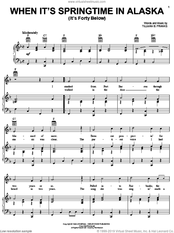 When It's Springtime In Alaska (It's Forty Below) sheet music for voice, piano or guitar by Johnny Horton and Tillman Franks, intermediate skill level