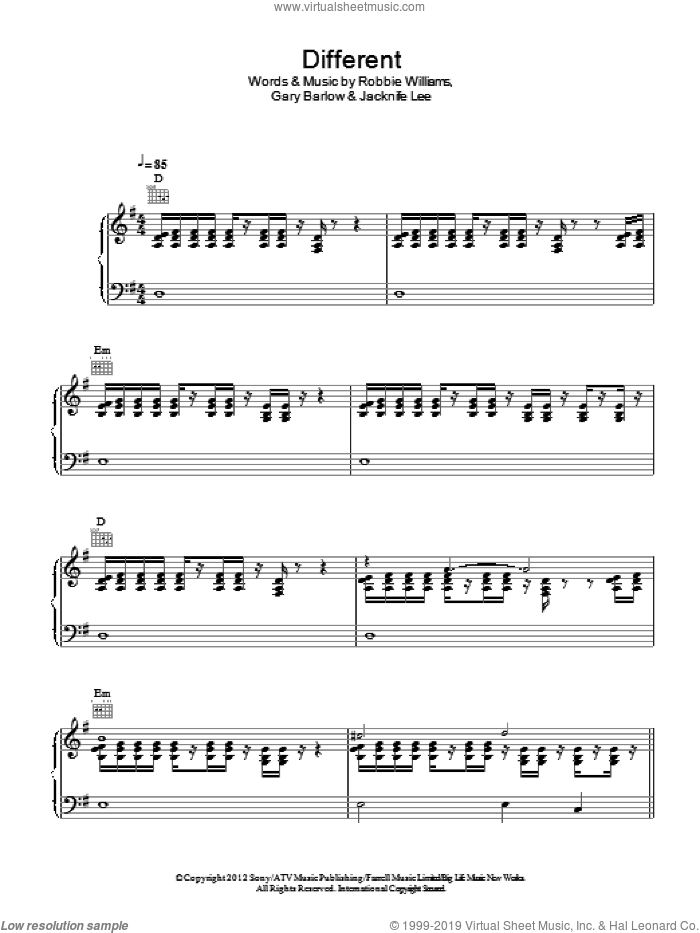 Different sheet music for voice, piano or guitar by Jacknife Lee, Gary Barlow and Robbie Williams. Score Image Preview.