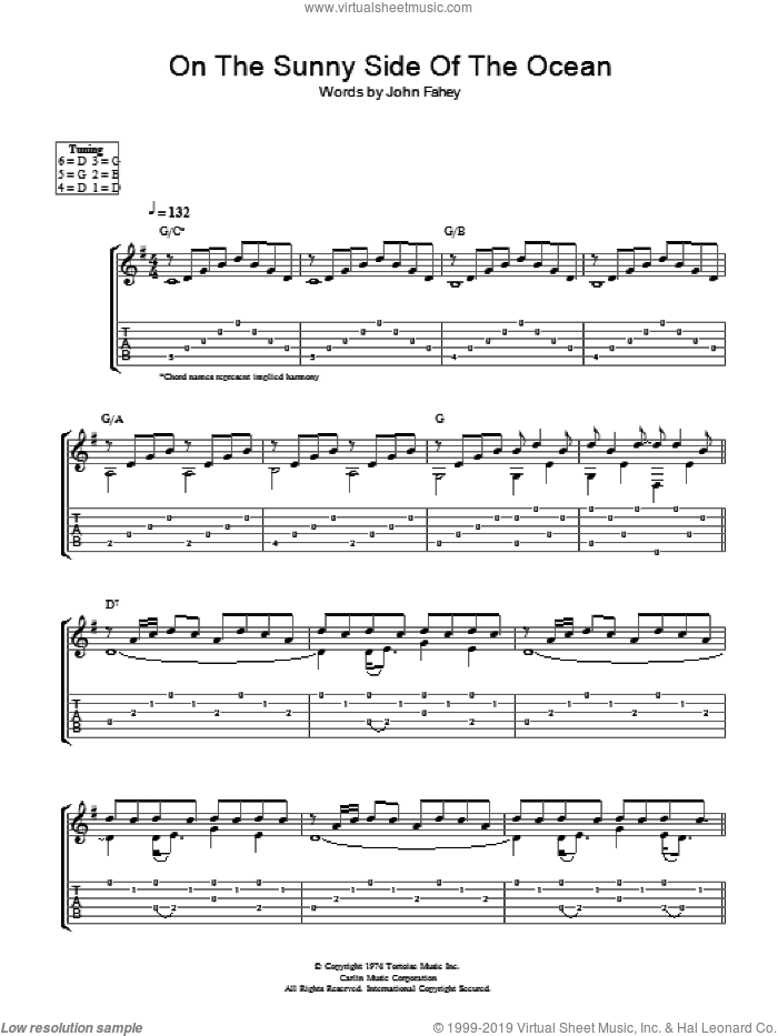 On The Sunny Side Of The Ocean sheet music for guitar (tablature) by John Fahey. Score Image Preview.