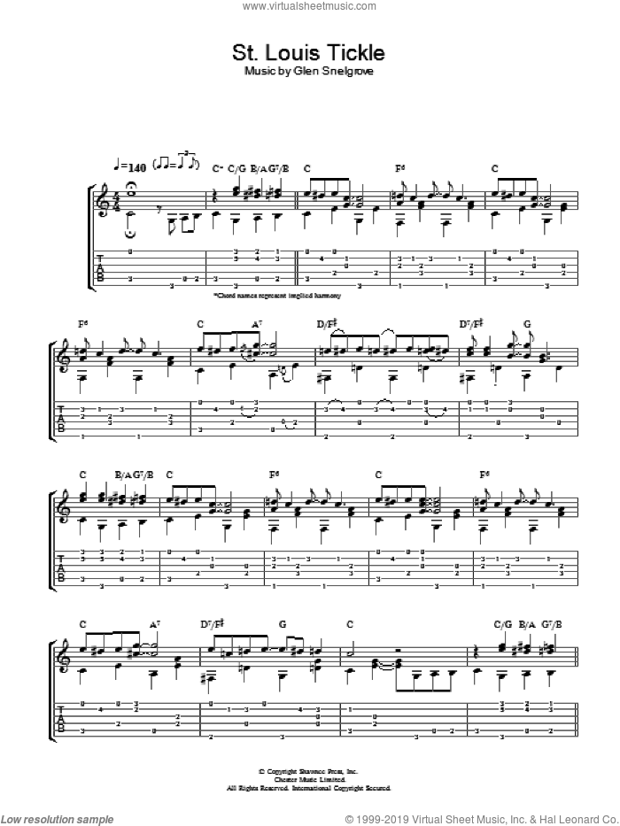 St. Louis Tickle sheet music for guitar (tablature) by Dave Van Ronk. Score Image Preview.