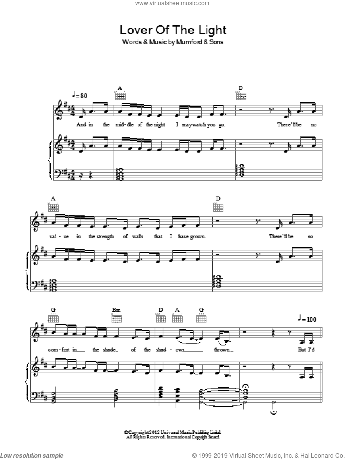 Lover Of The Light sheet music for voice, piano or guitar by Mumford & Sons. Score Image Preview.