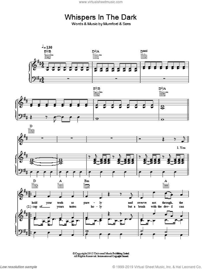Whispers In The Dark sheet music for voice, piano or guitar by Mumford & Sons. Score Image Preview.