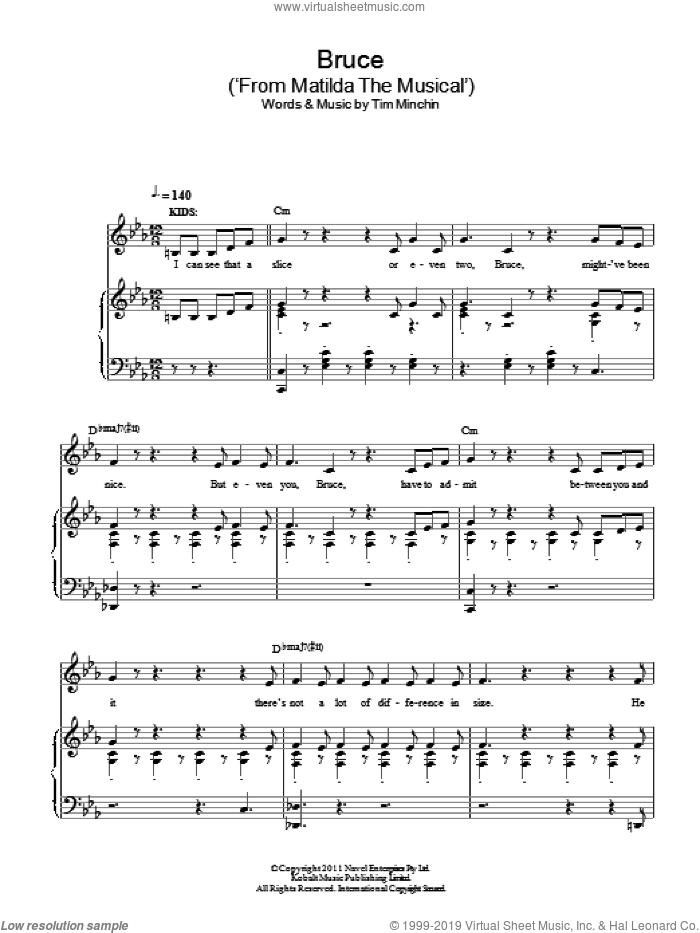 Bruce ('From Matilda The Musical') sheet music for voice and piano by Tim Minchin, intermediate skill level