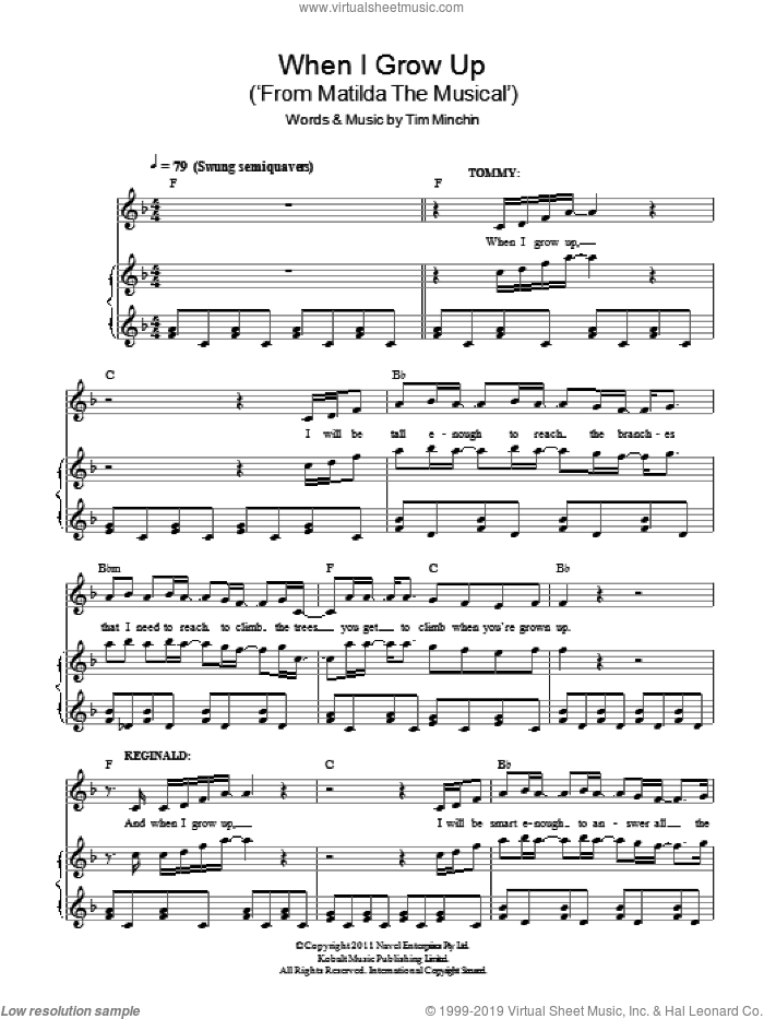 When I Grow Up ('From Matilda The Musical') sheet music for voice and piano by Tim Minchin, intermediate voice. Score Image Preview.