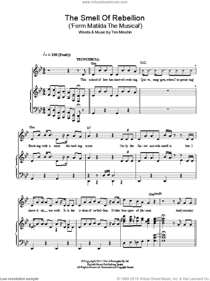 The Smell Of Rebellion ('Form Matilda The Musical') sheet music for voice and piano by Tim Minchin, intermediate skill level
