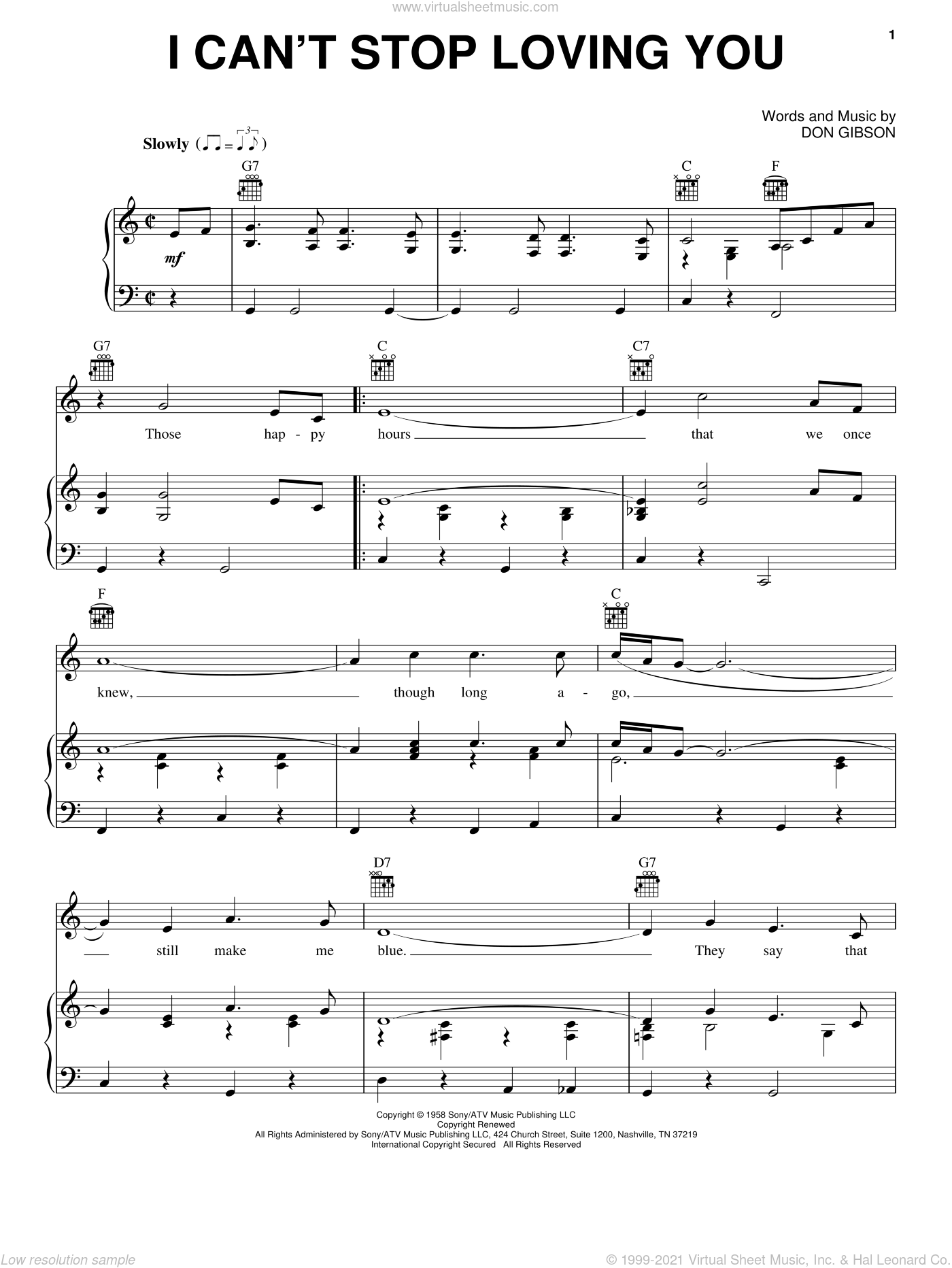 I Can't Stop Loving You sheet music for voice, piano or guitar by Elvis Presley, Ray Charles and Don Gibson, intermediate skill level