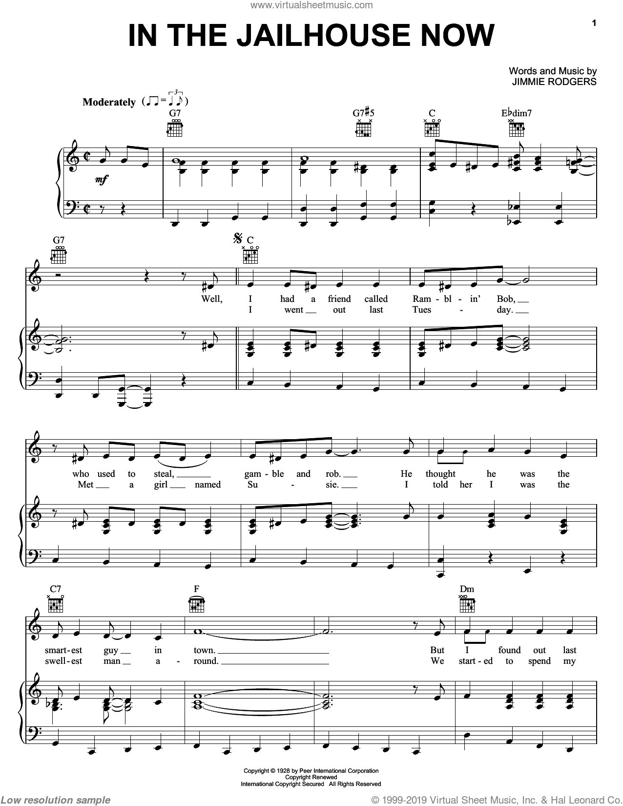 In The Jailhouse Now sheet music for voice, piano or guitar by Jimmie Rodgers, intermediate skill level