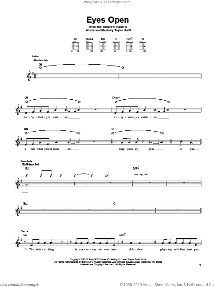 Eyes Open sheet music for guitar solo (chords) by Taylor Swift, easy guitar (chords). Score Image Preview.