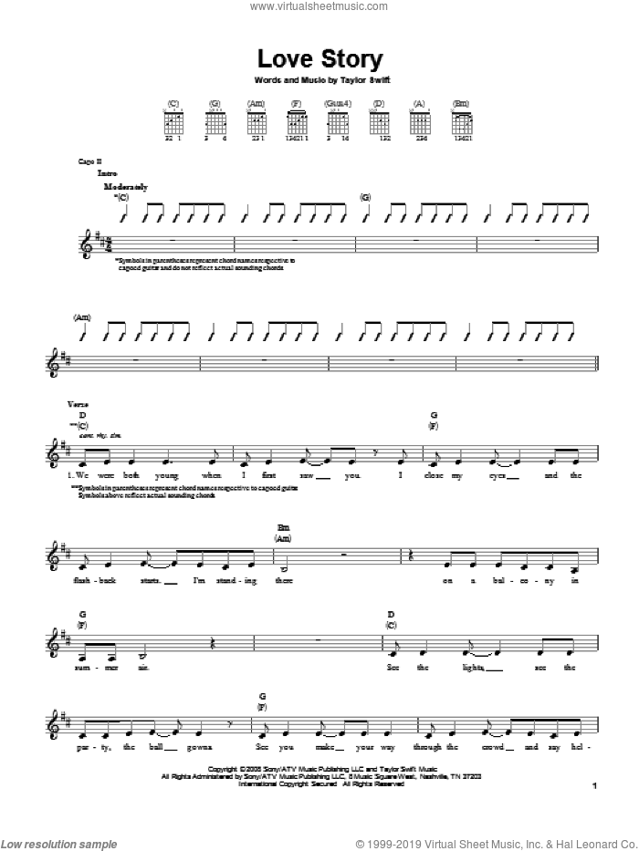 Love Story sheet music for guitar solo (chords) by Taylor Swift. Score Image Preview.