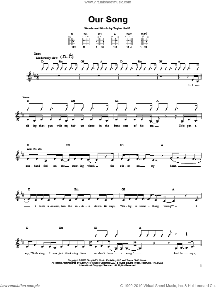 Our Song sheet music for guitar solo (chords) by Taylor Swift, easy guitar (chords)